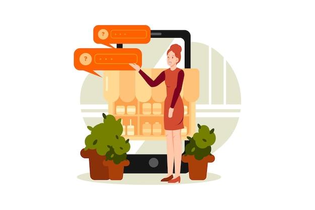 Concetto di illustrazione di revisione dello shopping online