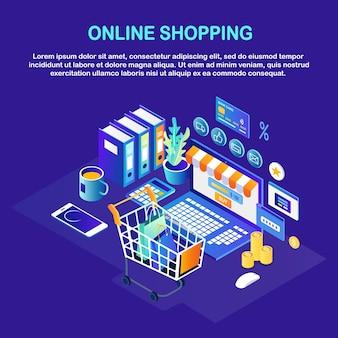 Shopping online, vendita. acquista in un negozio al dettaglio tramite internet. computer con carrello, carrello, soldi