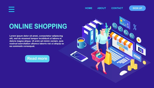 Shopping online, vendita. acquista in un negozio al dettaglio tramite internet. donna isometrica con cestino, computer, soldi