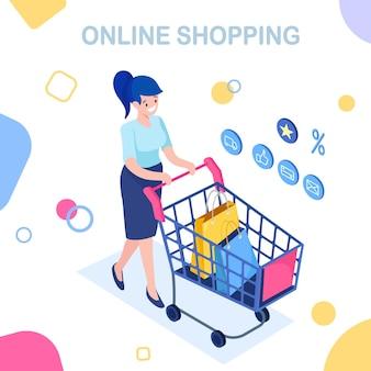 Shopping online, vendita. acquista in un negozio al dettaglio tramite internet. donna isometrica con carrello, trolley, borsa