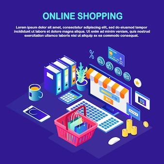 Shopping online, concetto di vendita. acquista in un negozio al dettaglio tramite internet. computer isometrico, cestino, soldi