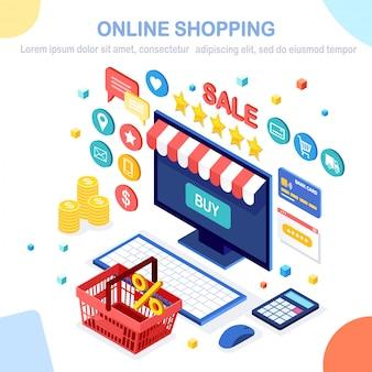 Shopping online, concetto di vendita. acquista in negozio al dettaglio tramite internet. computer isometrico, laptop con cestino, soldi, carta di credito, recensione del cliente, stella di feedback. per banner web