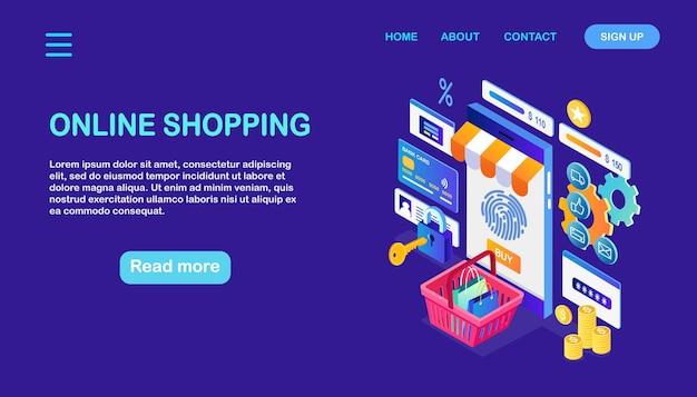 Shopping online, concetto di vendita