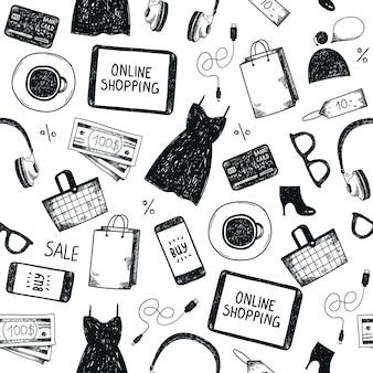 Modello senza cuciture dello shopping online. bianco e nero, disegnato a mano