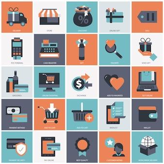 Illustrazione di set per lo shopping online