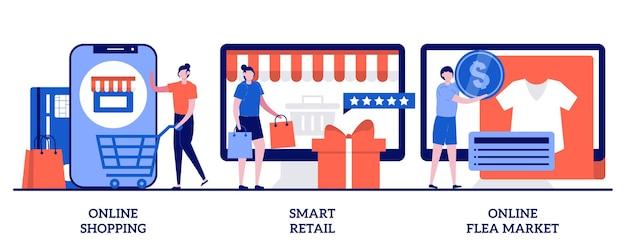Shopping online, vendita al dettaglio intelligente, concetto di mercato delle pulci online con illustrazione di persone minuscole