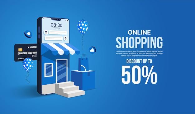 Shopping online sul concetto di applicazione dei social media negozio di marketing digitale e negozio tramite smartphone