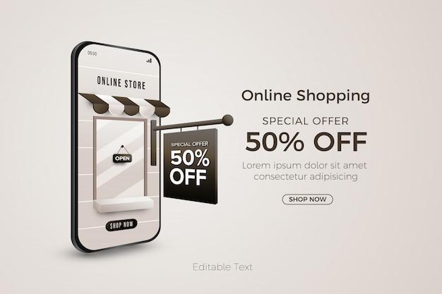 Modello di banner di offerta speciale per lo shopping online su web o app mobile