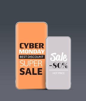 Shopping online offerte speciali sugli schermi degli smartphone cyber lunedì vendita sconti vacanze concetto di e-commerce verticale