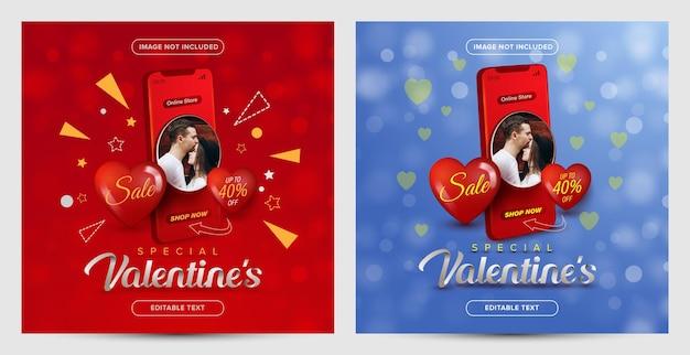 Promozione speciale di san valentino dello shopping online sul concetto di post sui social media