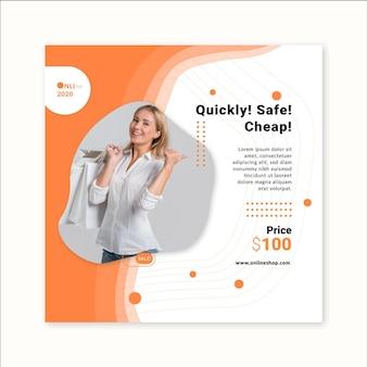 Modello di volantino quadrato dello shopping online