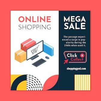 Modello di volantino quadrato dello shopping online Vettore Premium