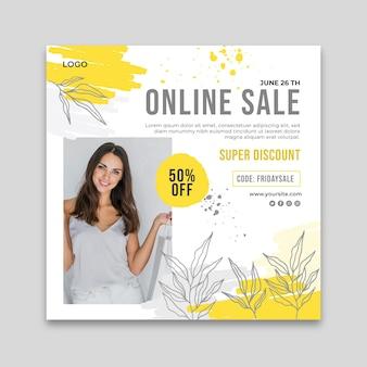 Modello di volantino quadrato per lo shopping online