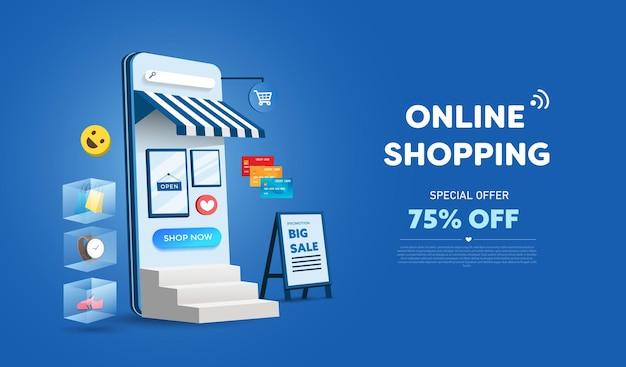 Negozio di shopping online e design del telefono cellulare. concetto di marketing aziendale intelligente. vista orizzontale.