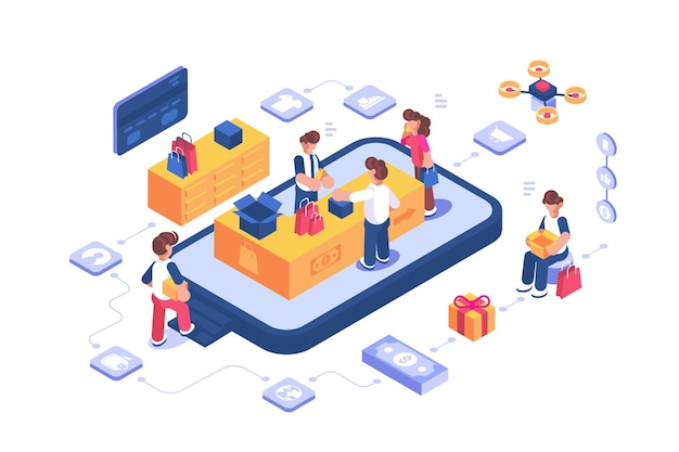 Negozio di acquisti online tramite illustrazione di app internet