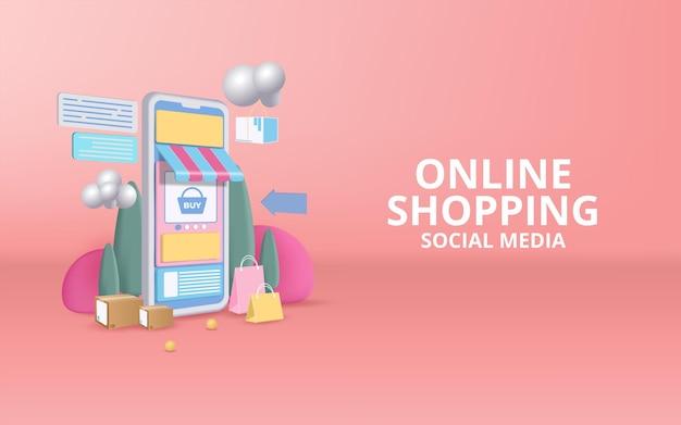 Negozio di acquisti online su sito web e design del telefono cellulare
