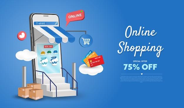 Negozio di acquisti online su sito web e telefono cellulare