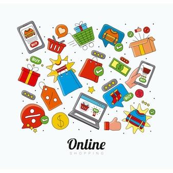 Tecnologia dello shopping online imposta icone e illustrazione scritta