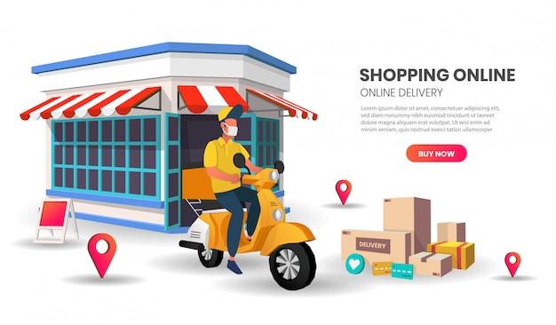 Banner modello di shopping online