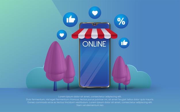 Banner modello di acquisto online