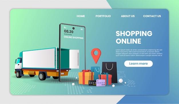 Pagina di destinazione del modello di shopping online