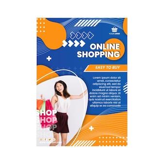 Modello di volantino verticale dello shopping online