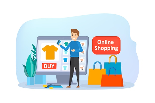 Acquisti online sul sito web. acquista vestiti online. e-commerce e concetto di consegna. ordina le merci e ricevile in modo facile e veloce. illustrazione