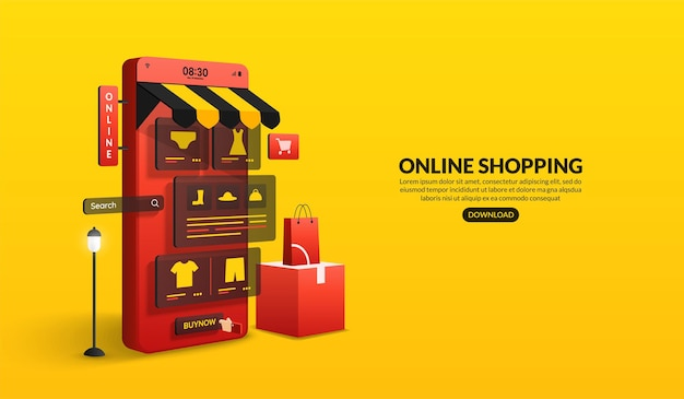 Acquisti online sul sito web e sull'applicazione mobile tramite smartphone concetto di marketing digitale