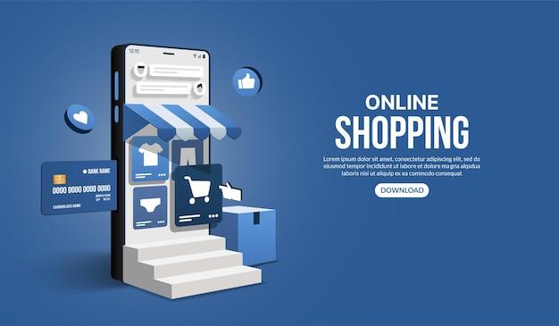 Acquisti online sul sito web e sull'applicazione mobile tramite smartphone negozio e negozio di marketing digitale