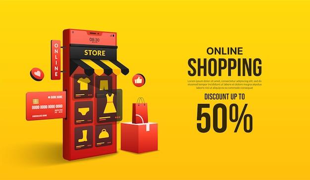 Acquisti online sul sito web e sull'applicazione mobile tramite smartphone concetto di negozio di marketing digitale