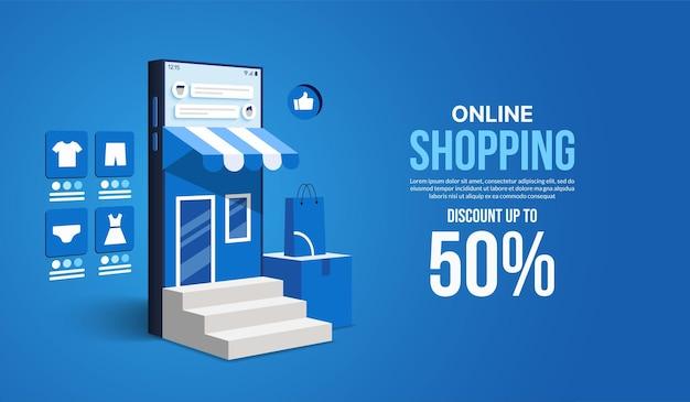 Acquisti online su sito web e applicazione mobile tramite smartphone negozio e negozio di marketing digitale