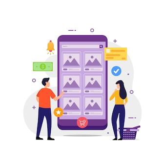 Acquisto online con l'illustrazione di vettore del concetto di design del dispositivo mobile