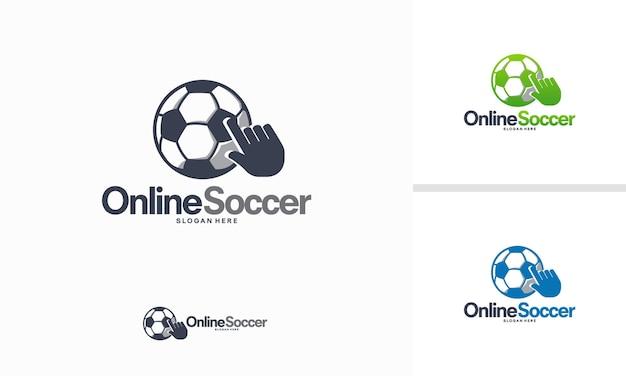 Il logo del calcio online progetta il vettore, il vettore del modello del logo delle informazioni sul calcio