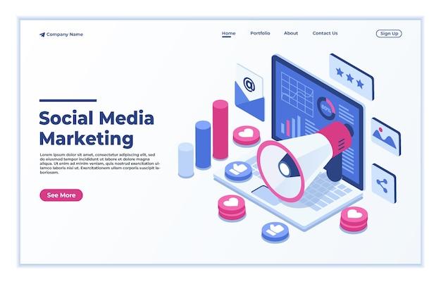 Pagina di destinazione isometrica del concetto di social media marketing online