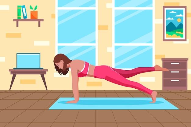 Donna di lezioni di sport online che fa una plancia