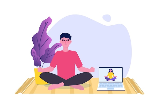 Tutorial sportivo online, concetto di streaming degli studi di yoga. allenarsi a casa. illustrazione vettoriale