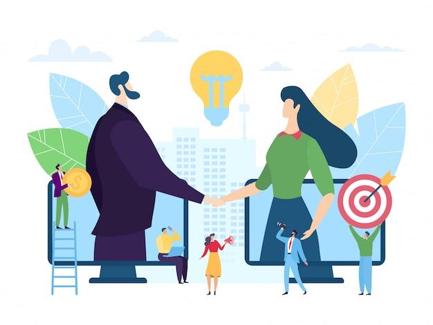 Associazione online di impresa startup, illustrazione. handshaking del carattere della donna dell'uomo attraverso gli schermi dello smartphone. digitale