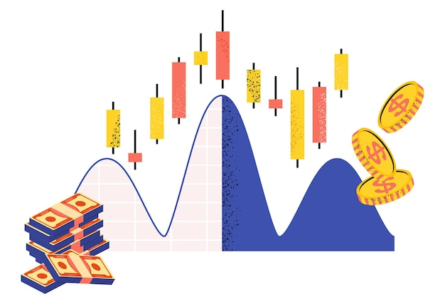 Borsa in linea. grafico a candele giapponesi. mercato finanziario. commercianti e agenti di borsa. quotazioni di borsa e prezzi delle materie prime. illustrazione vettoriale piatto.