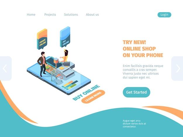 Isometrica dello smartphone per lo shopping della pagina di destinazione del negozio online.