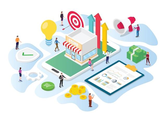 Il team di concetto di promozione del negozio online lavora su dati e strumenti di marketing per promuovere con la moderna illustrazione isometrica in stile 3d