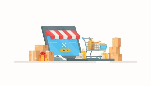 Acquisti online in negozio. illustrazione dell'ordinazione a domicilio. registratore di cassa e pagamento. vendita, affari, ordine, prodotto.