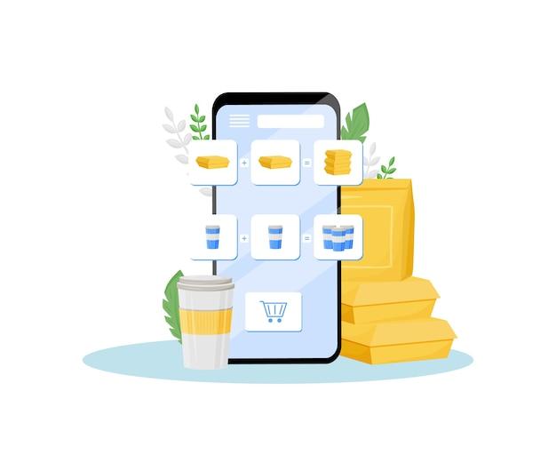 Illustrazione di concetto piatto di offerta speciale del negozio online. sconto fast food, pranzo e drink gratuiti. campagna pubblicitaria di ristoranti su internet, idea creativa di ordinazione di piatti pronti