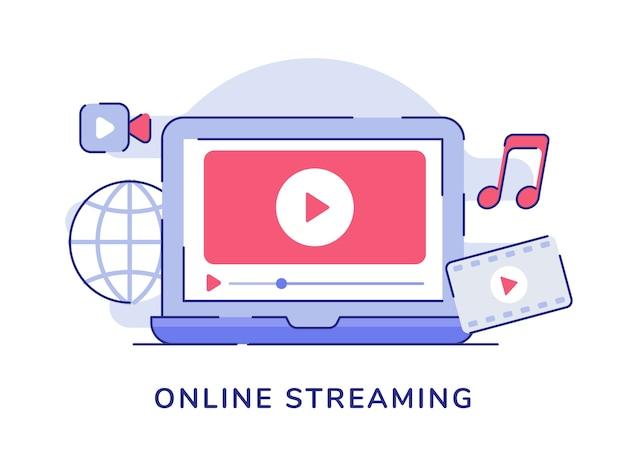 Concetto di streaming online con video che riproducono musica da film sul laptop con display
