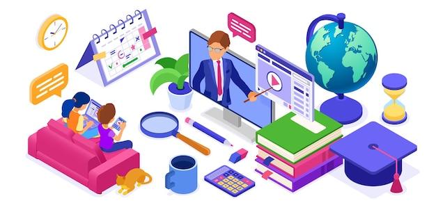 Studio online banner di formazione a distanza con corso internet di carattere isometrico