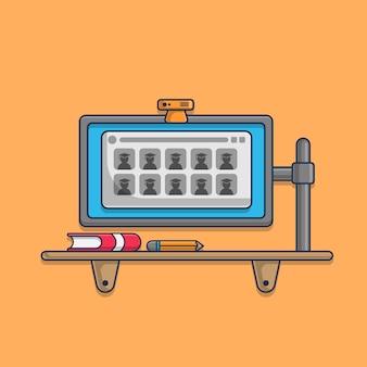 Studio online con l'icona dell'illustrazione del computer