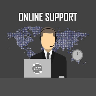 Illustrazione di vettore di concetto di supporto online. uomo con cuffie e laptop sullo sfondo della mappa.
