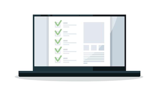 Elenco di controllo del sondaggio online con segno di spunta sullo schermo del laptop