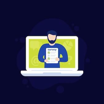Sondaggio online e icona di vettore di feedback con man