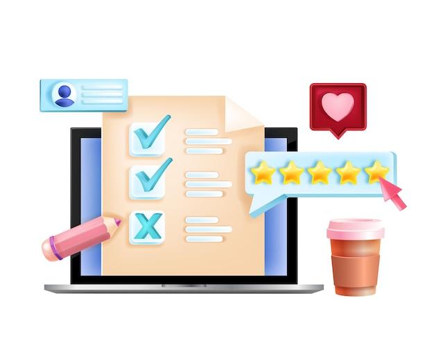 Sondaggio online, feedback su internet, concetto di modulo di questionario digitale, schermo del laptop, stelle