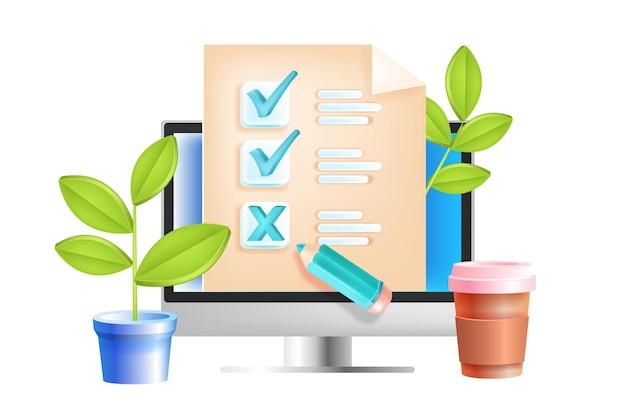 Sondaggio online, questionario internet, feedback web, concetto di test di istruzione, schermo del computer.